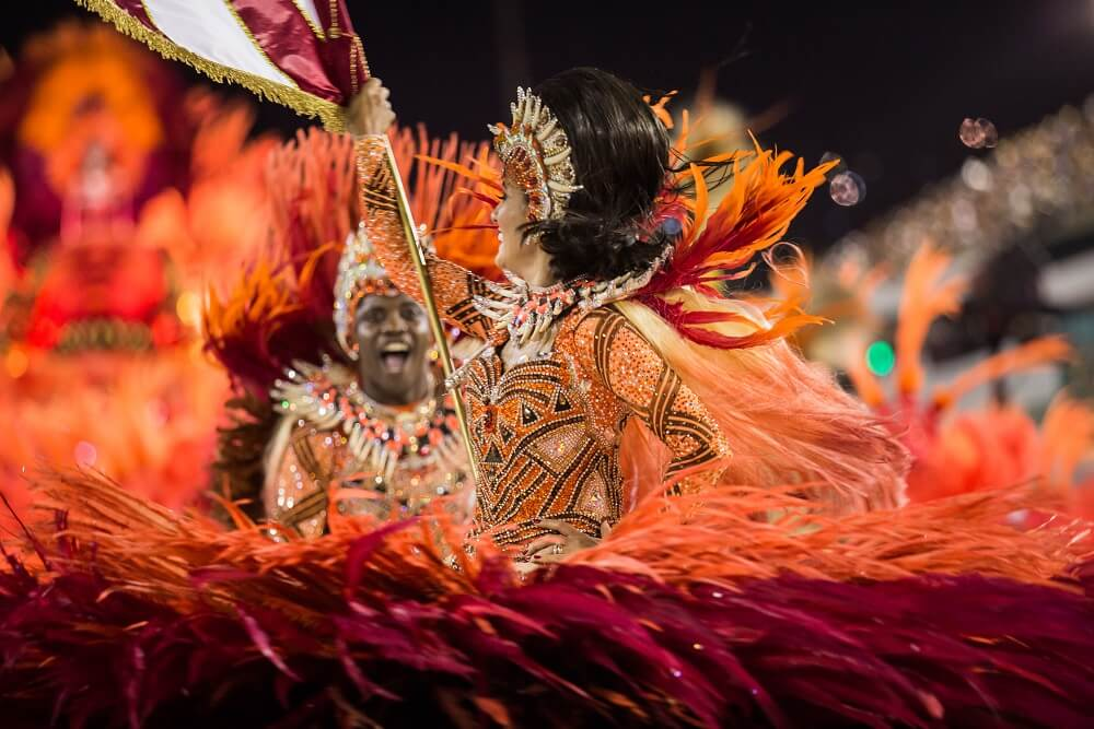 The Flag Bearer and her Escort - Rio carnival