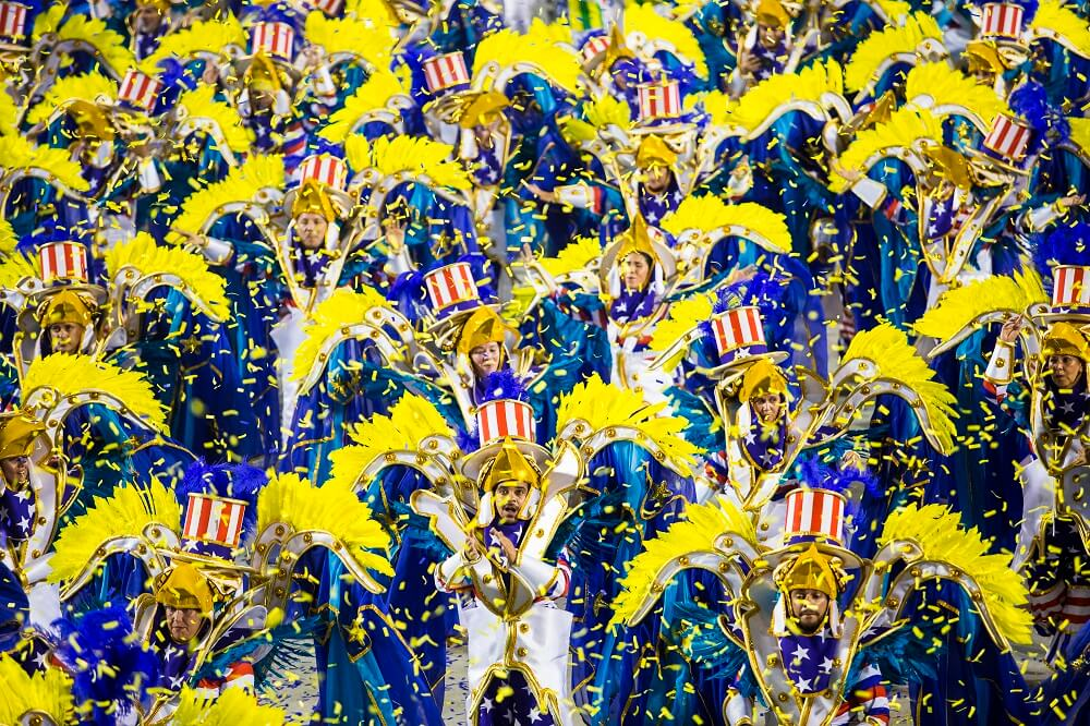 Rio Carnival parade with dancers and costumes